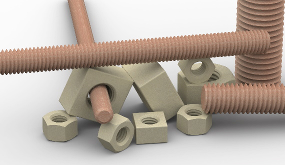 Threaded bars made of GFRP material
